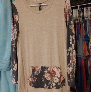 Tops - LS floral blocking shirt with front pocket, NWOT